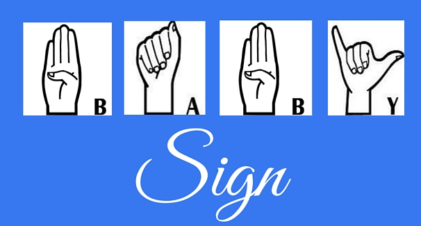 Image with hand signs spelling out BABY Sign