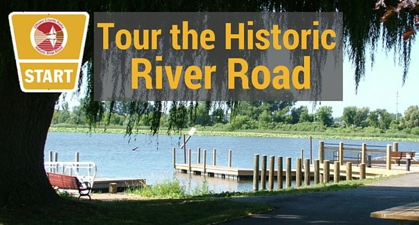 Image of Millpoint Park with the text 'Tour the Historic River Road'