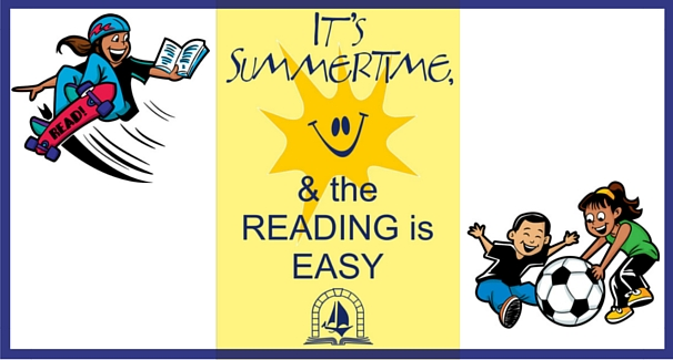 Image of children playing with text 'It's summertime & the reading is easy'