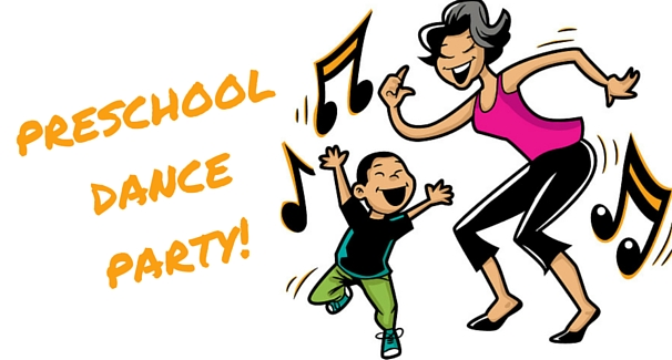 Image of an adult and child dancing with text 'Preschool Dance Party!'