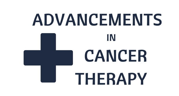 "Plus sign in blue with the words ""Advancements in Cancer Therapy"" also in blue on white background."