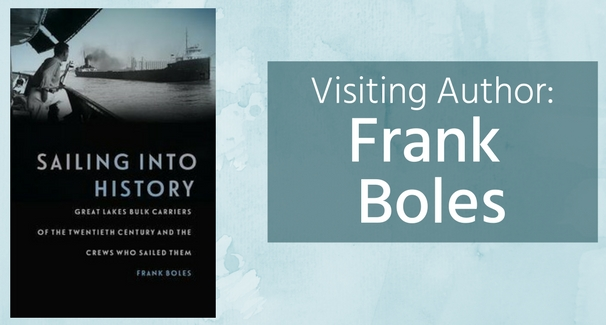 "Book cover on left side of page; teal rectangle on right side of page with text ""Visiting Author: Frank Boles"" in white; background of teal watercolor texture"